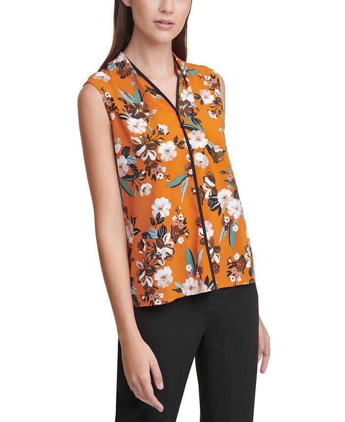 Calvin Klein - Floral-Print V-Neck Top