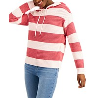 Deals on Style & Co Striped Ribbed Hoodie Sweater