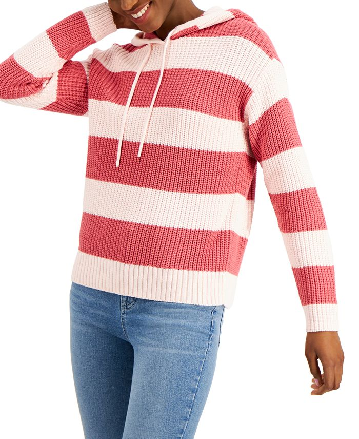 Style & Co - Striped Ribbed Knit Hoodie