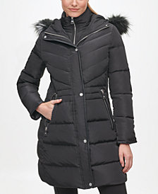 Karl Lagerfeld Paris Women's Faux Fur Hooded Puffer Coat