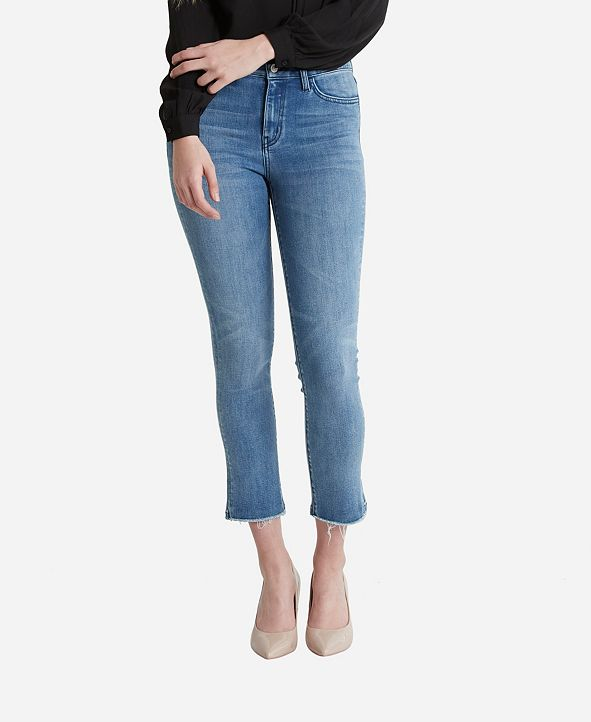 FLYING MONKEY Women's High Rise Hem Detail Crop Straight Jeans