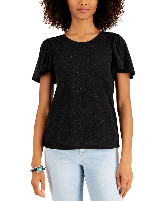 Style Co Angelina Flutter Sleeve Top Created For Macy S Reviews Tops Women Macy S