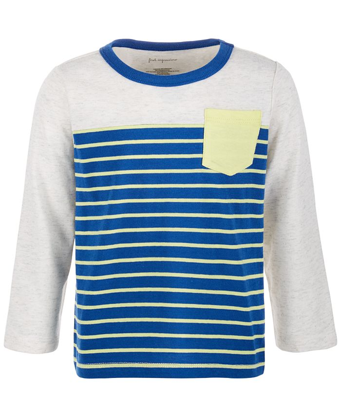 First Impressions - Baby Boys Stripe Pieced Pocket T-Shirt