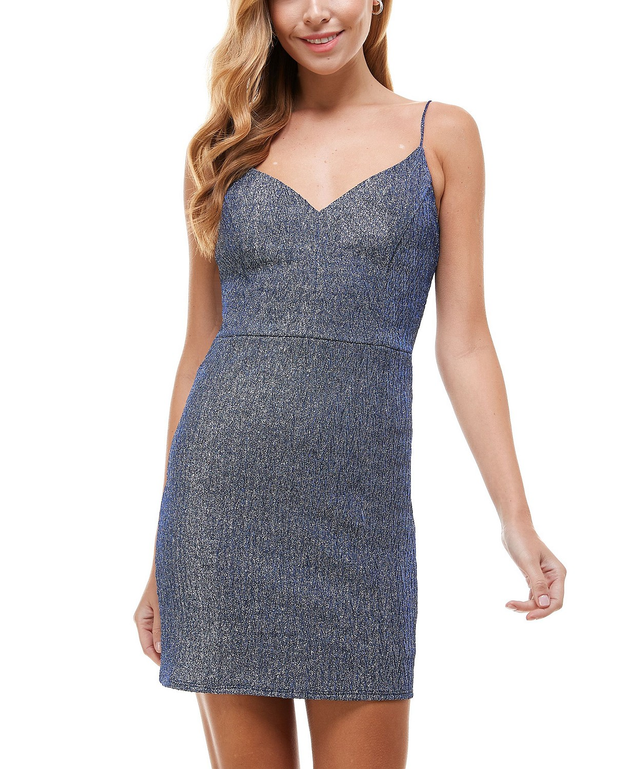 Macy's: Juniors' Plunge-Neck Glitter Bodycon Dress $10.66 (81% off)