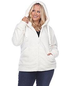 White Mark Women's Plus Size Sherpa Jacket