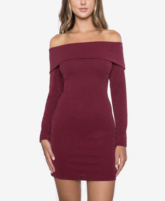 B Darlin - Juniors' Glitter Off-The-Shoulder Dress