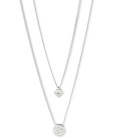 "Givenchy Scattered Crystal Adjustable Two-Row Pendant Necklace, 16 + 3"" extender"