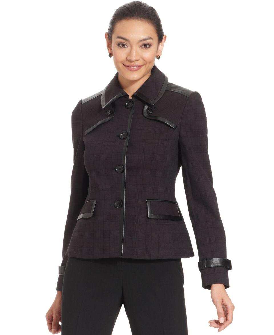 Anne Klein Jacket, Faux Leather Trim Plaid   Jackets & Blazers   Women