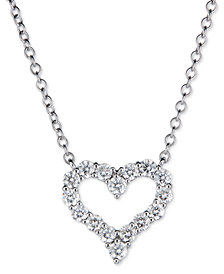 "Diamond Heart 18"" Pendant Necklace (5/8 ct. t.w.) in 14k White or Rose Gold"