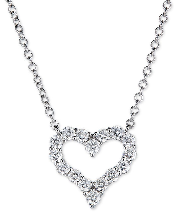 "Macy's - Diamond Heart 18"" Pendant Necklace (5/8 ct. t.w.) in 14K White or Rose gold"