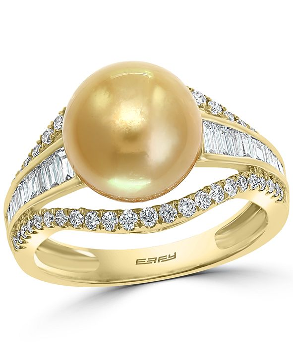 EFFY Collection EFFY® Cultured Golden South Sea Pearl (10mm) & Diamond (5/8 ct. t.w.) Ring in 14k Gold