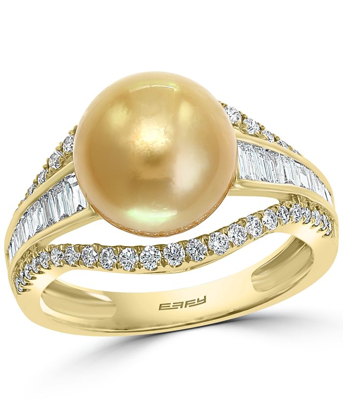 EFFY Collection - Cultured Golden South Sea Pearl (10mm) & Diamond (5/8 ct. t.w.) Ring in 14k Gold
