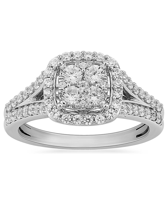 Macy's - Diamond Halo Cluster Ring (3/4 ct. t.w.) in 10k White Gold