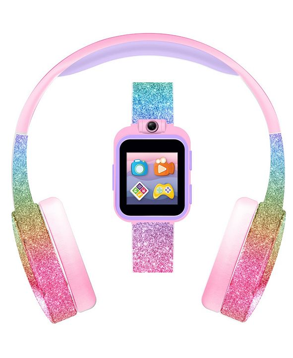 iTouch Kid's Playzoom Pink Rainbow Glitter Tpu Strap Smart Watch with Headphones Set 41mm