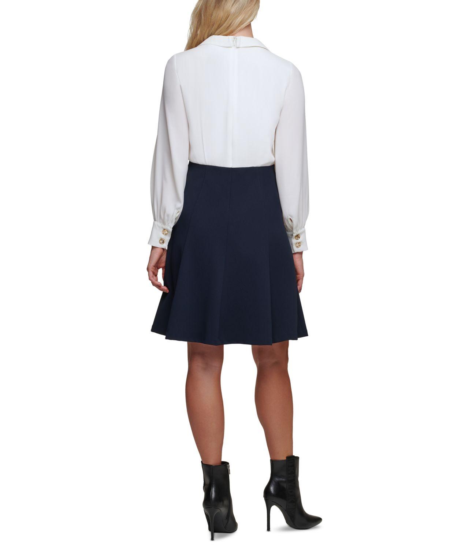 DKNY Tie-Neck Button-Trim Dress & Reviews - Dresses - Women - Macy's