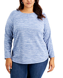 Karen Scott Plus Size Space-Dyed Microfleece Top, Created for Macy's