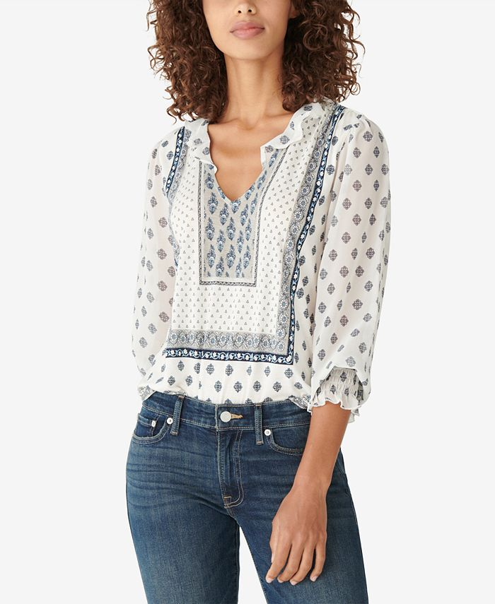 Lucky Brand - Cotton Ruffled Peasant Top