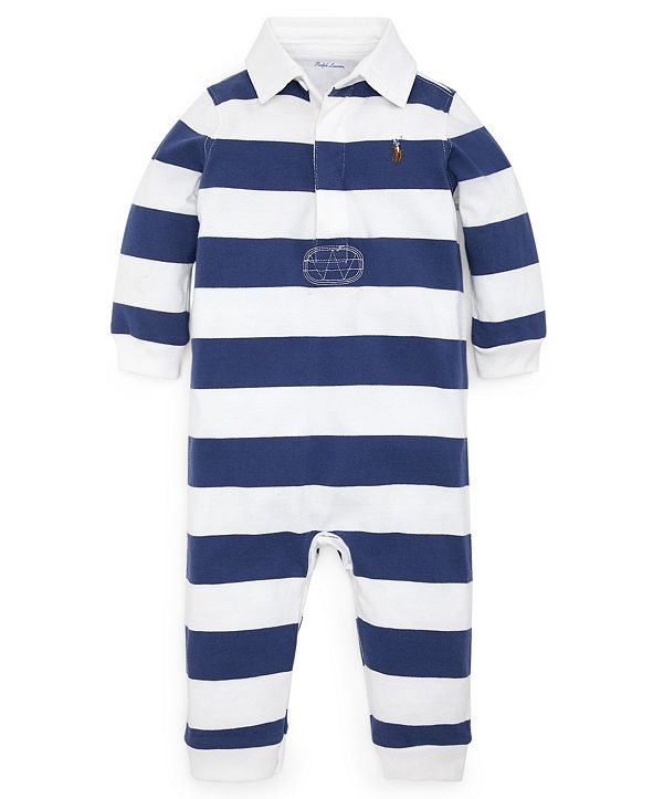 Polo Ralph Lauren Ralph Lauren Baby Boys Striped Cotton Rugby Coverall