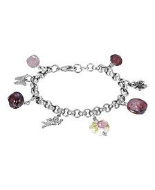2028 Women's Silver Tone Purple Bead Angel Flower Heart Charm Chain Bracelet