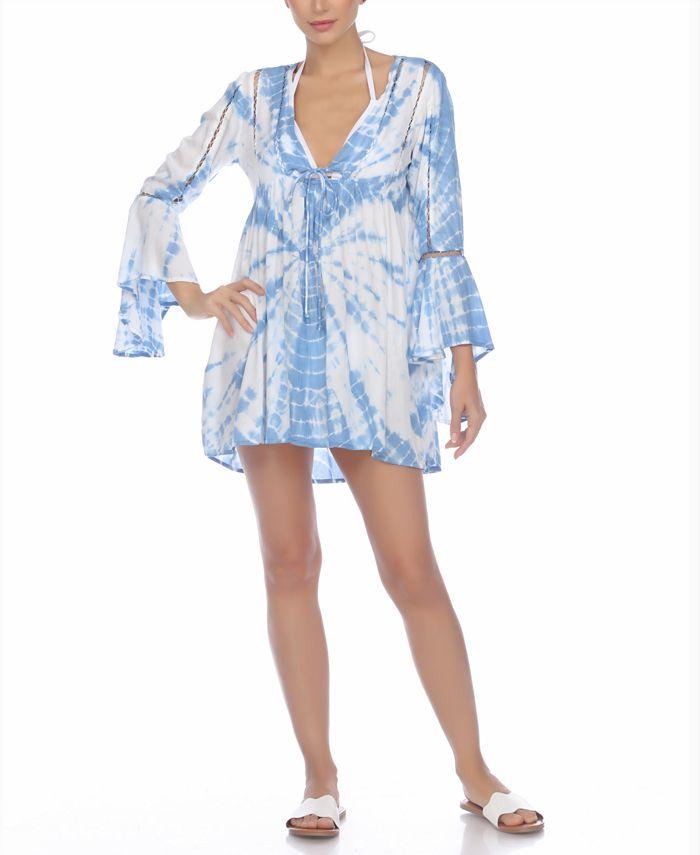 Raviya - Tie-Dye Bell-Sleeve Cover-Up Dress