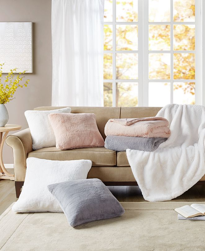 Martha Stewart Collection Faux Fur Decorative Pillow & Throw Collection, Created for Macy's