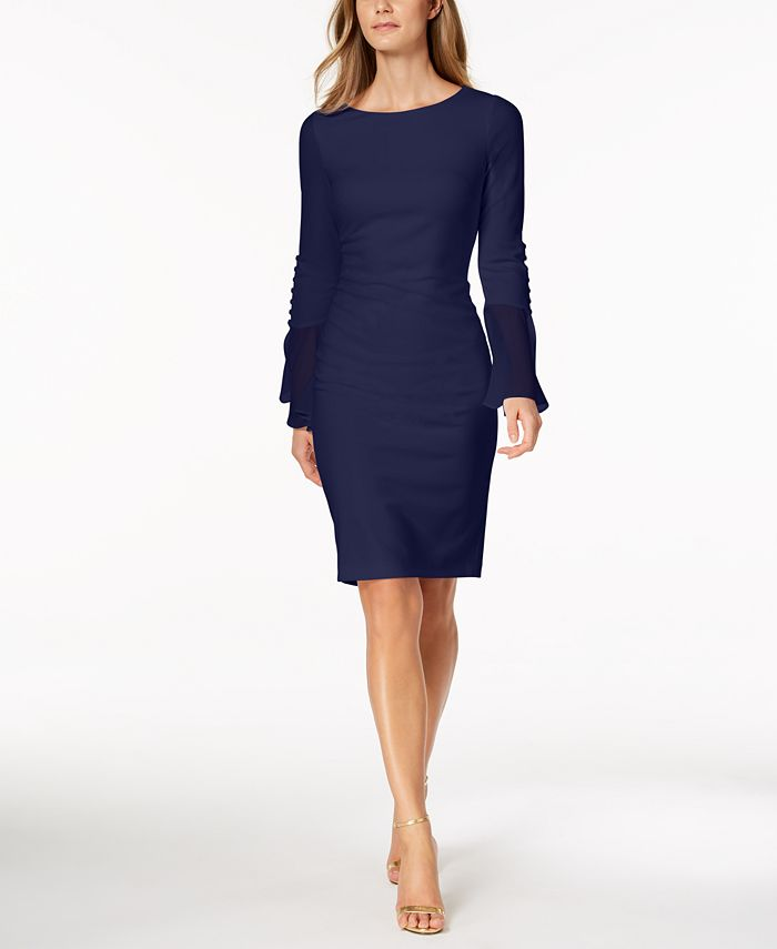 Calvin Klein - Chiffon-Bell-Sleeve Sheath Dress