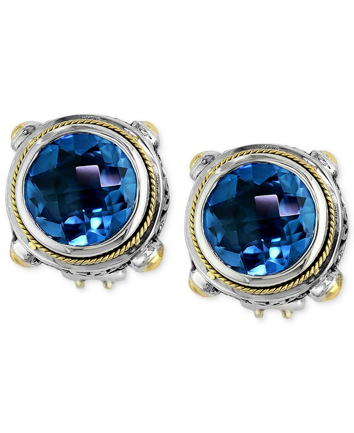 EFFY Collection - Blue Topaz Round Stud Earrings (7-5/8 ct. t.w.) in 18k Gold and Sterling Silver
