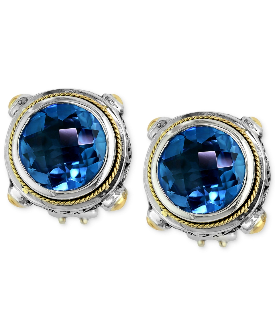 Balissima by EFFY Blue Topaz Round Stud Earrings (7 5/8 ct. t.w.) in 18k Gold and Sterling Silver   Earrings   Jewelry & Watches