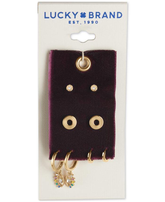 Lucky Brand Gold-Tone 4-Pc. Set Crystal Evil Eye Stud & Huggie Hoop Earrings & Reviews - Earrings - Jewelry & Watches - Macy's
