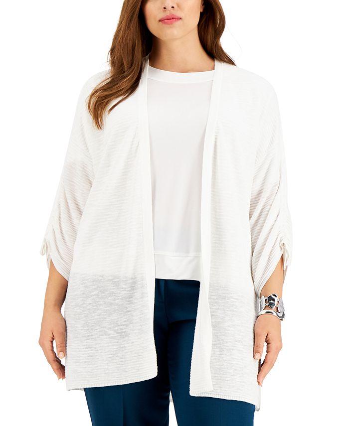 Kasper - Plus Size Ruched-Sleeve Cardigan