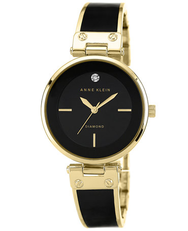 Anne klein women 39 s diamond accent black and gold tone bangle bracelet watch 34mm ak 1414 bkgb for Anne klein gold watch