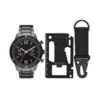 Folio Men's Gunmetal Stainless Steel Bracelet Watch 46mm Gift Set