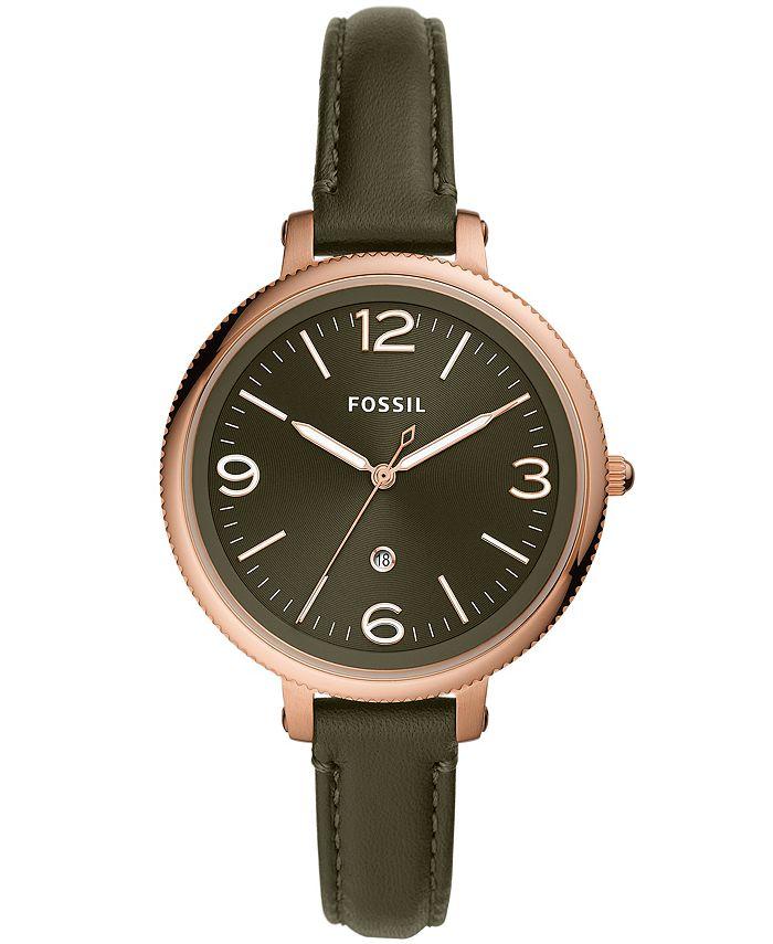 Fossil - Women's Monroe Green Leather Strap Watch 38mm
