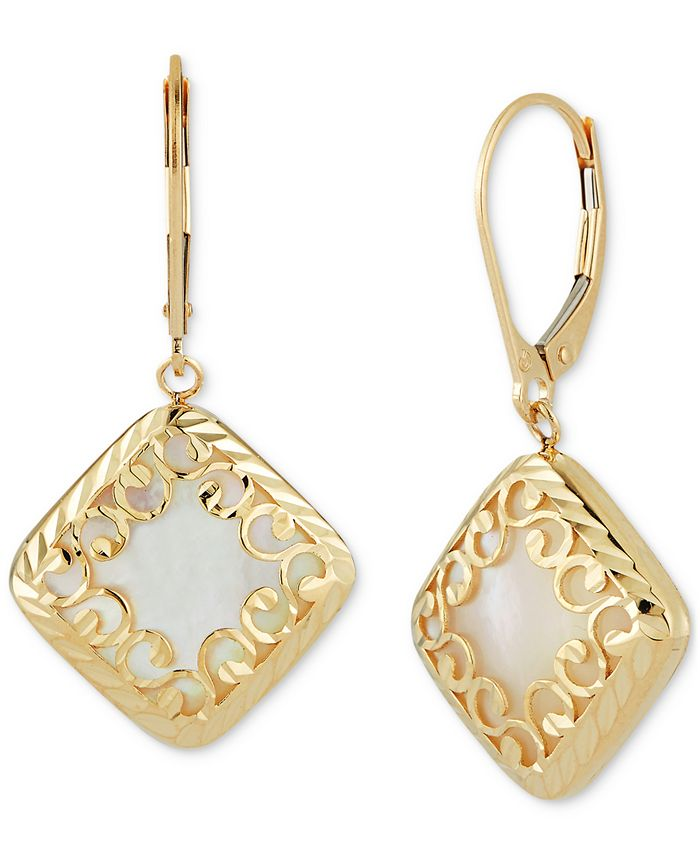 Macy's - Mother-of-Pearl Square Filigree Drop Earrings in 14k Gold
