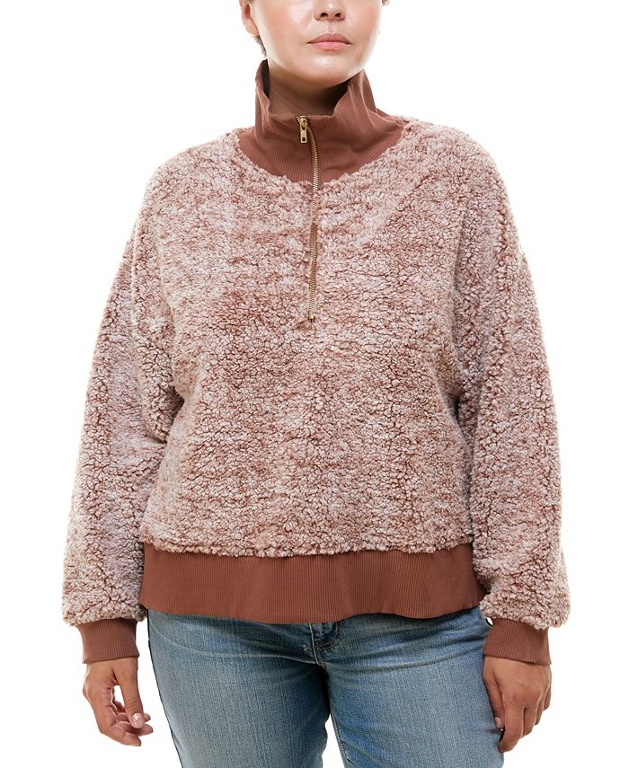 Derek Heart - Trendy Plus Size Zip-Neck Faux-Sherpa Sweater