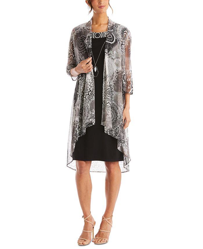 R & M Richards - 2-Pc. Printed Jacket & Necklace Dress Set