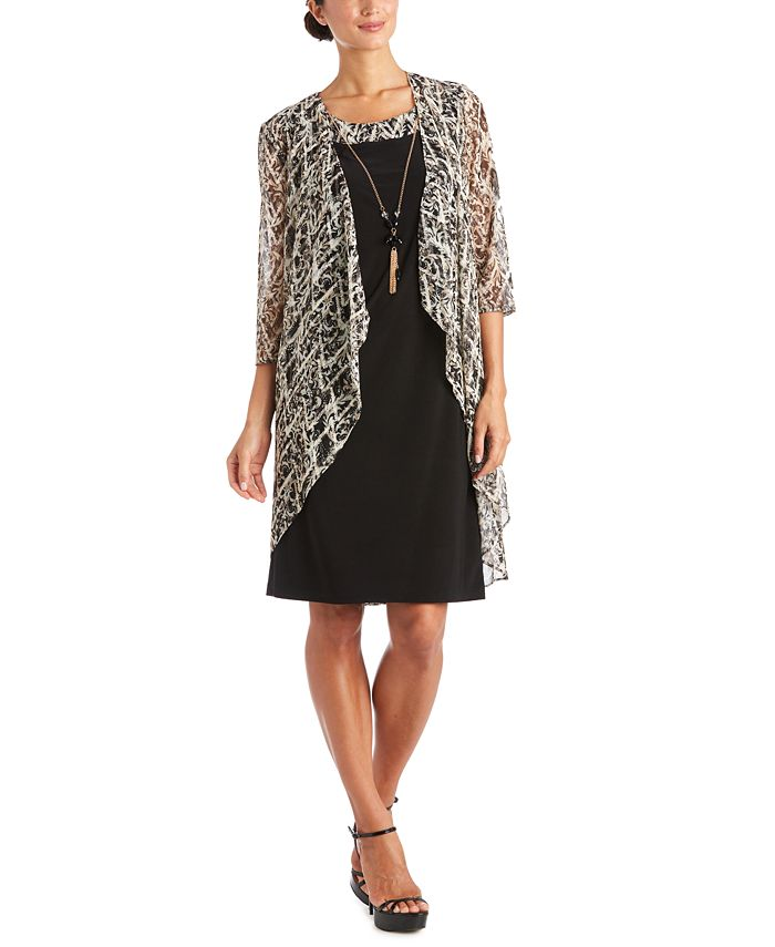 R & M Richards - 2-Pc. Printed Jacket & Necklace Dress Set