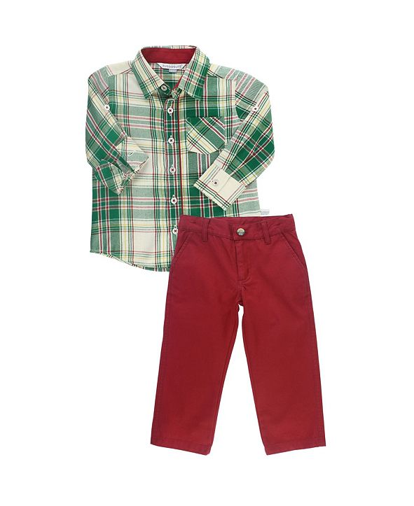 RuggedButts Baby Boys Long Sleeve Button Down Shirt and Pant Set