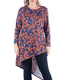 Women's Plus Size Floral Print Asymmetric Tunic Top