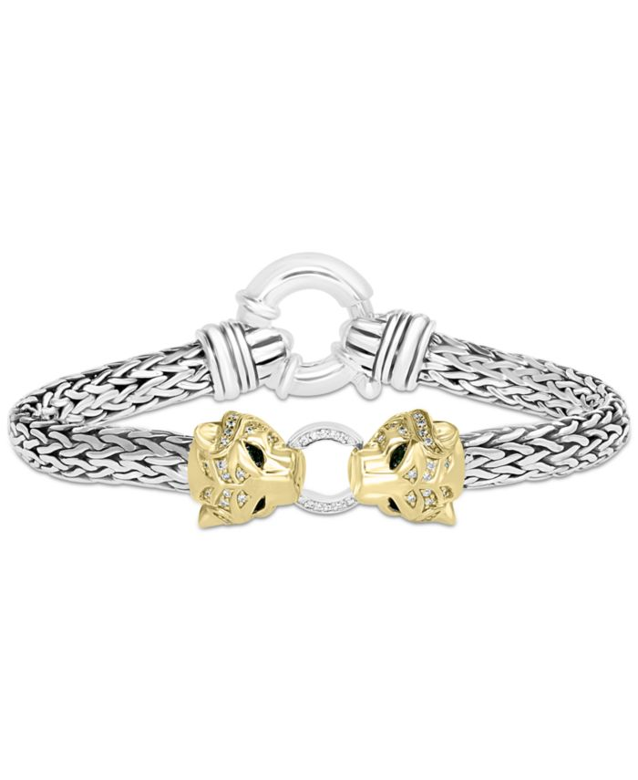 EFFY Collection EFFY® Diamond (1/4 ct. t.w.) & Tsavorite Accent Panther Mesh Bracelet in Sterling Silver & 14k Gold-Plate & Reviews - Bracelets - Jewelry & Watches - Macy's