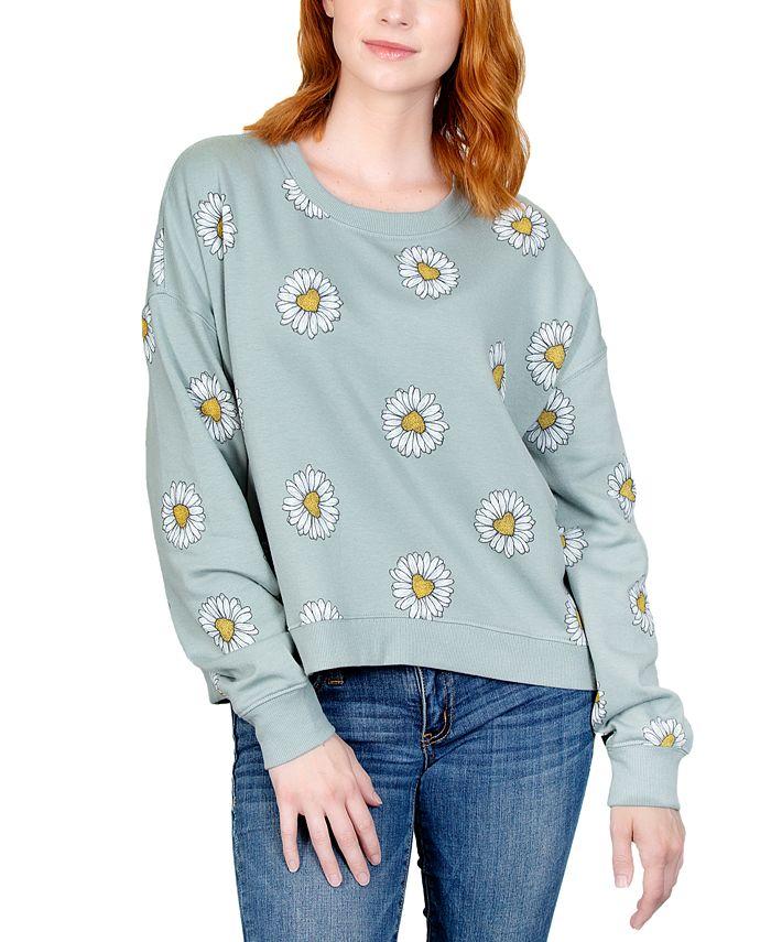 Rebellious One - Juniors' Printed Daisy Sweatshirt