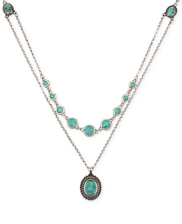 Lucky brand silver tone layered chain and turquoise accent for Macy s lucky brand jewelry