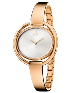 Calvin Klein Women's Swiss Impetuous Rose Gold-Tone Pvd Stainless Steel Bangle Bracelet Watch 40mm K4F2N616
