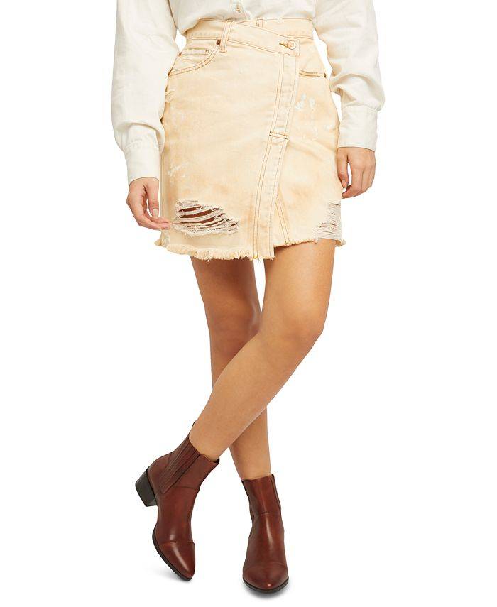 Free People - Parker Cotton Ripped Denim Skirt