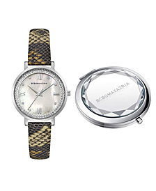 BCBGMAXAZRIA Women's Classic Round Brown Snake Print Genuine Leather Strap Watch and Compact Mirror Set, 33mm