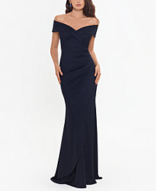XSCAPE Metallic-Knit Off-the-Shoulder Gown