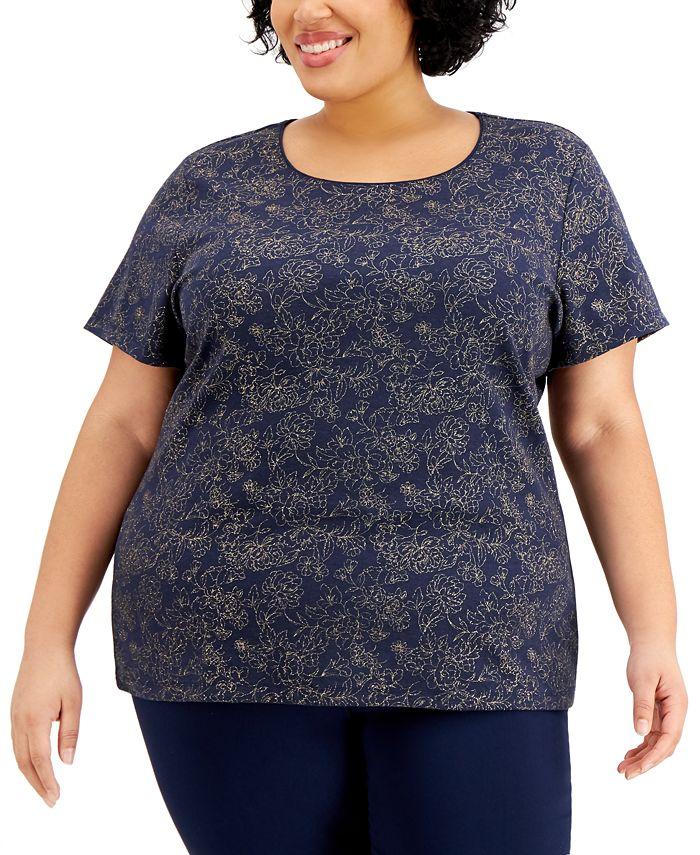 Karen Scott - Plus Size Floral-Print Top