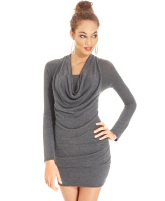 Tempted Juniors Dress, Short Sleeve Cowl Neck Draped Mini ...