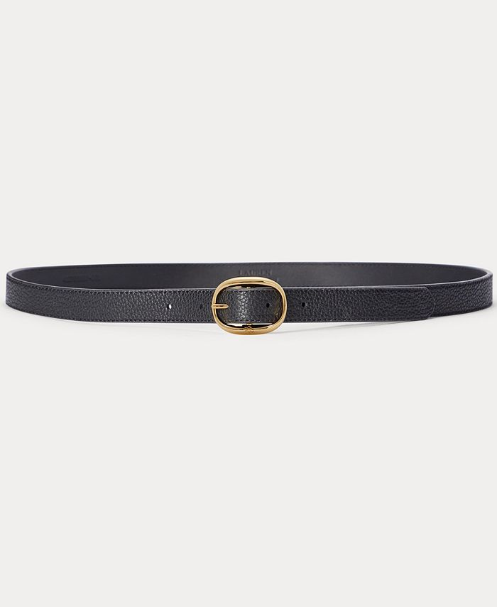 Lauren Ralph Lauren - Oval Buckle Pebbled Leather Belt