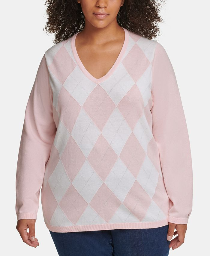 Tommy Hilfiger - Plus Size Ivy Cotton Argyle Sweater
